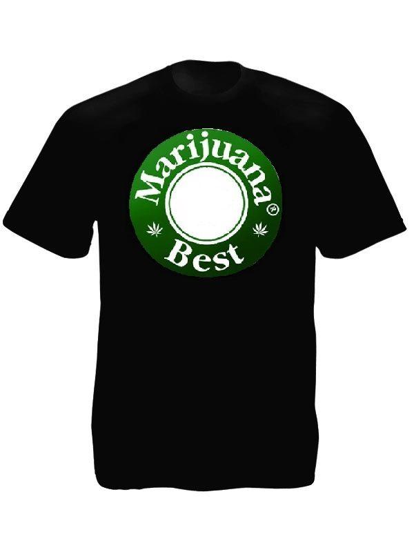 Tee-Shirt Noir en Coton Publicitaire Bière Cannabis