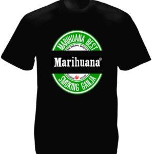 Tee-Shirt Noir Homme Cannabis Amsterdam Hollande Manches Courtes