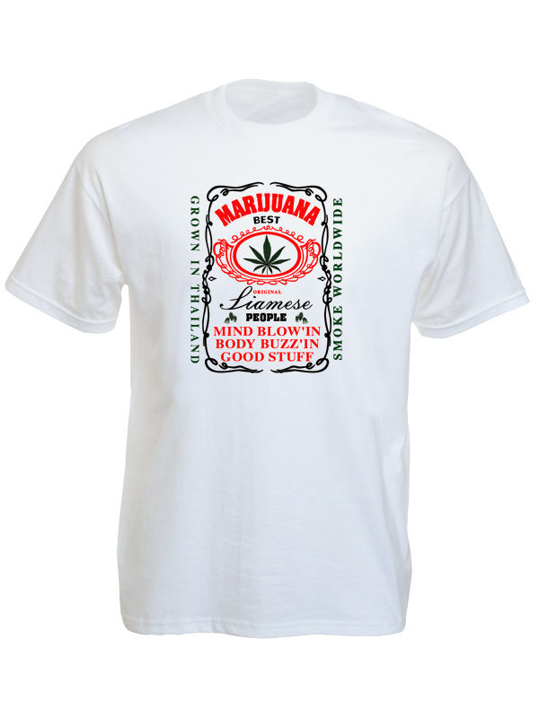 T-Shirt Blanc Homme Marijuana Thaïlande Manches Courtes en Coton