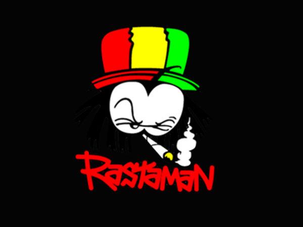 T-Shirt Noir Manches Courtes avec Logo Jamaïcain de Rastaman