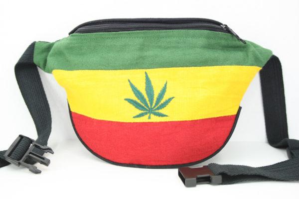 Sac Banane Cannabis Chanvre à Porter à la Taille avec Ceinture Noire à Clip