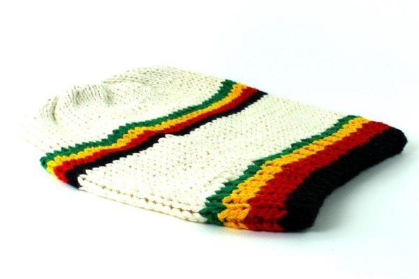 Bonnet Blanc Long Bandes Frontales et Milieu Vertes Jaunes Rouges Noires