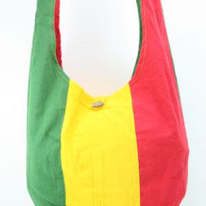Sac Hippie Grande Taille Bandoulière Bouton Vert Jaune Rouge