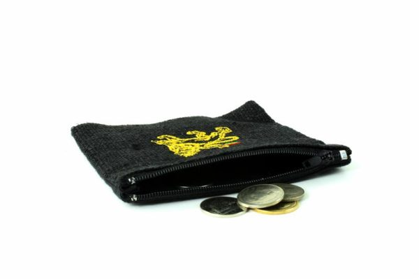 Porte-monnaie Chanvre Noir Lion de Juda Zip