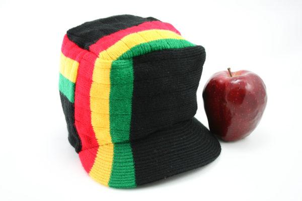 Casquette Noire Hiphop Bandes Couleur Rasta