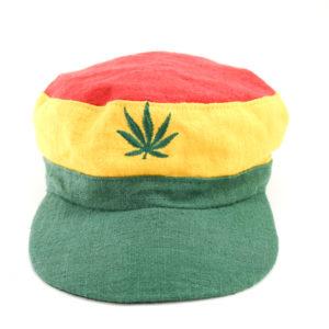 Casquette Chanvre Vert Jaune Rouge Feuille de Cannabis