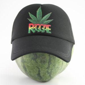 Casquette Noire Rasta Décoration Feuille de Cannabis