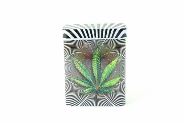 Boîte Cigarettes Métal Grise Cannabis Psychédélique