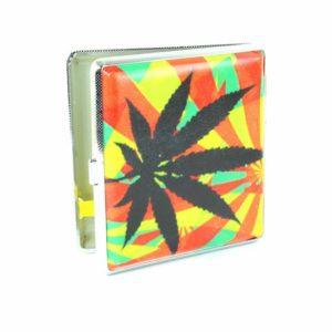 Boîte Cigarettes Cannabis Métal Feuille Ganja Noire