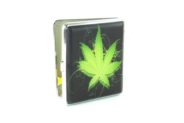 Boîtier Cigarettes Noire Feuille Cannabis Verte