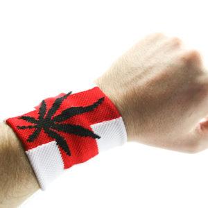 Bandeau de Poignet Blanc Croix Rouge Ganja
