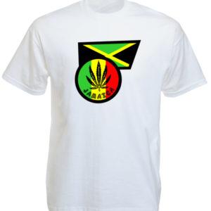 Drapeau Jamaïque Tee Shirt Blanc Homme Rasta Manches Courtes