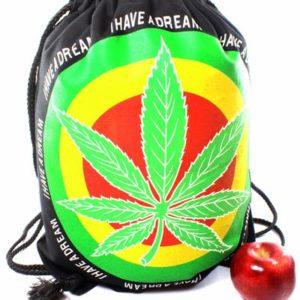 Sac à Dos Marijuana Fermeture Cordon Tissus Léger Résistant Pliable