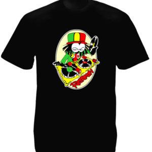 Dready T-Shirt Rastaman Noir Mixe aux Platines Taille Large Col Rond