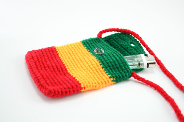 Sac Mobile Rasta Crochet Bandoulière Bouton