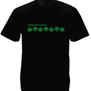 Feuilles de Cannabis T-Shirt Noir Souvenir Amsterdam à Manches Courtes