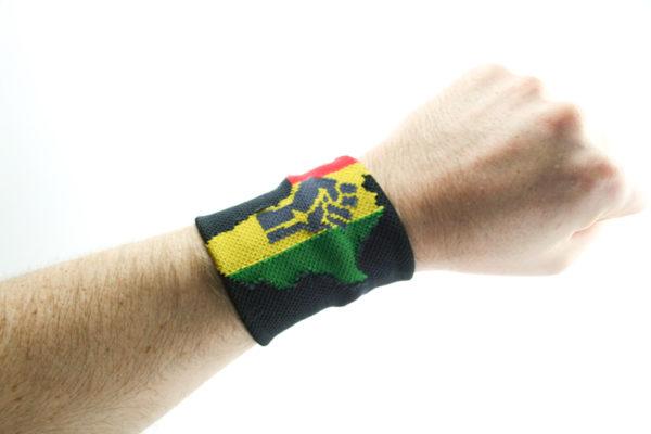 Bandeau de Poignet Africa Power, Bandeau Noir avec Poing Africa Power
