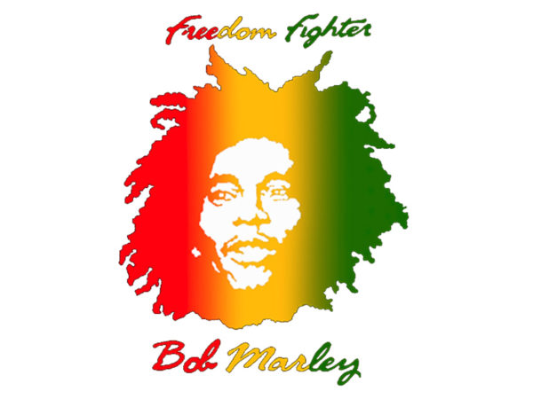 Freedom Fighters T-Shirt Blanc Manches Courtes Visage de Bob Marley