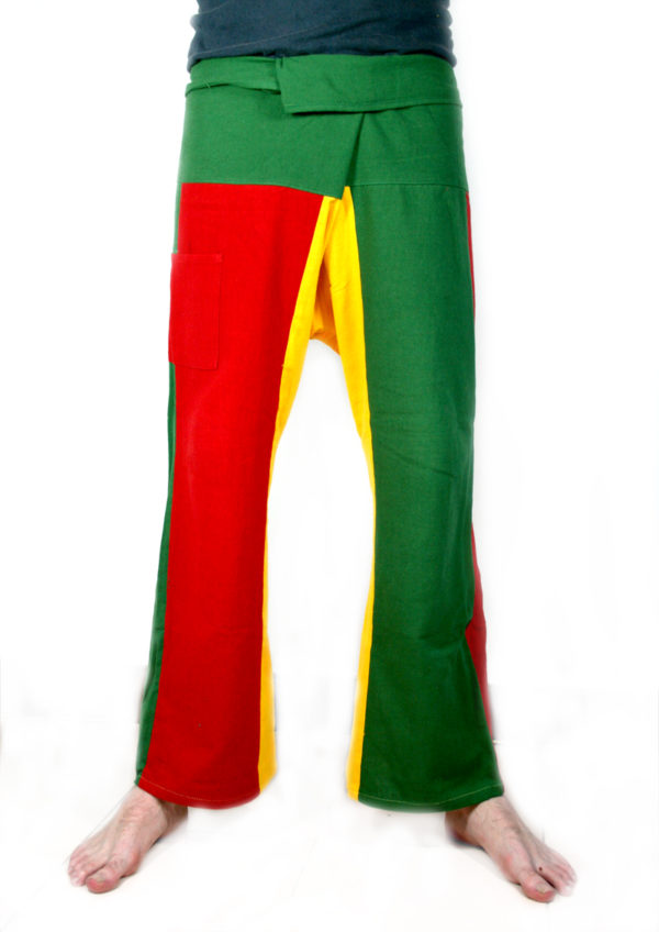Pantalon Pêcheur Thaï Rasta Vert Jaune Rouge