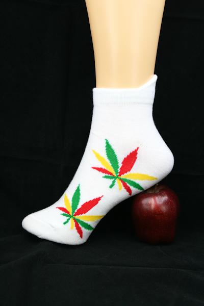 Chaussettes Cannabis Blanches Courtes Toutes Tailles