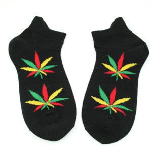 Chaussettes Cannabis Noires Courtes Toutes Tailles