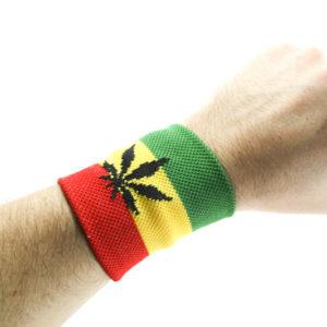 Magasin Reggae Bandeau de Poignet Cannabis, Bandeau Vert Jaune Rouge