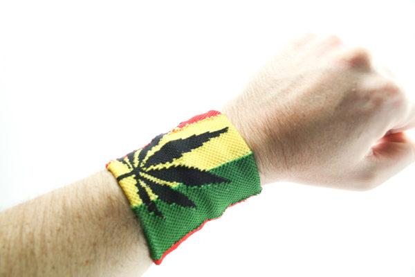 Boutique Rasta Bandeau de Poignet Cannabis, Bandeau Couleurs Rasta avec Feuille