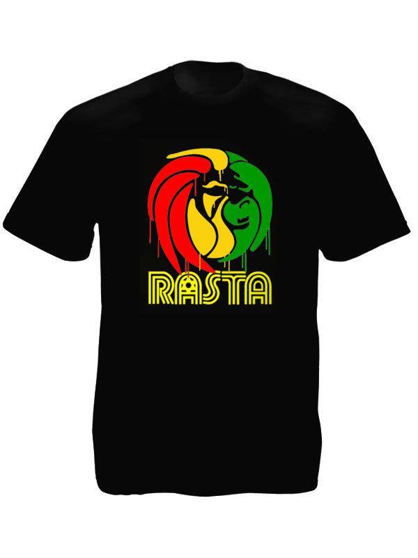 Graff Lion Rasta Tee Shirt Noir en Coton à Manches Courtes