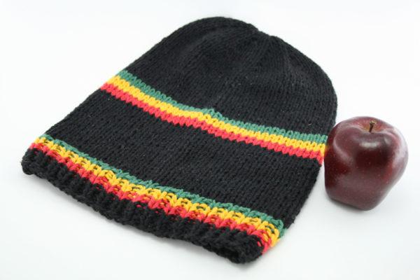 Bonnet Noir Long Bandes Frontales et Milieu Vertes Jaunes Rouges