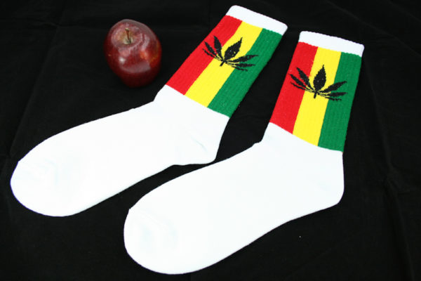 Chaussettes Longues Blanches Bandes Rasta