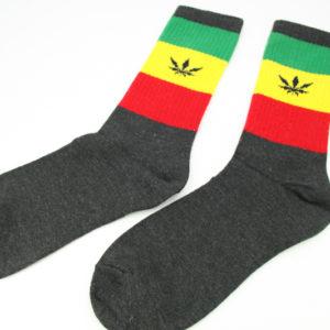 Chaussettes Rasta Longues Noires Feuille Cannabis