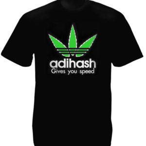Haschich T-Shirt Noir Coton Humoristique Adihash Give you Speed