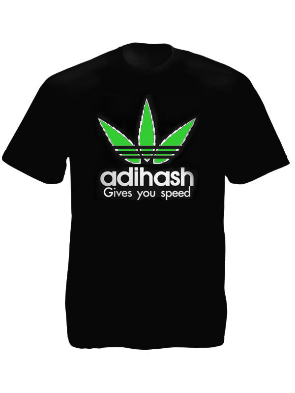 Haschich T-Shirt Noir Coton Humoristique Adihash Give you Speed