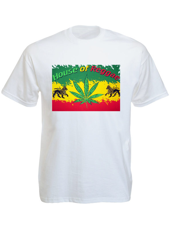 House of Reggae T-Shirt Blanc Manches Courtes Lion de Judah et Ganja