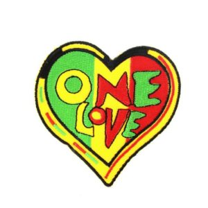 Ecusson Coeur One Love Rasta