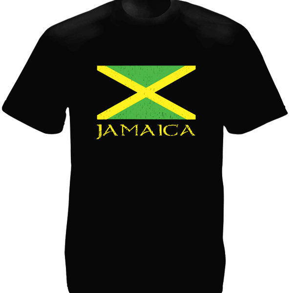 Jamaïcain T-Shirt Noir pour Homme Drapeau National Manches Courtes