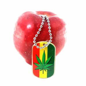 Porte-Clés Cannabis Métallique Bandes Vert Jaune Rouge