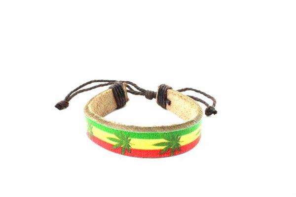 Bracelet Cuir Feuilles Ganja Vertes