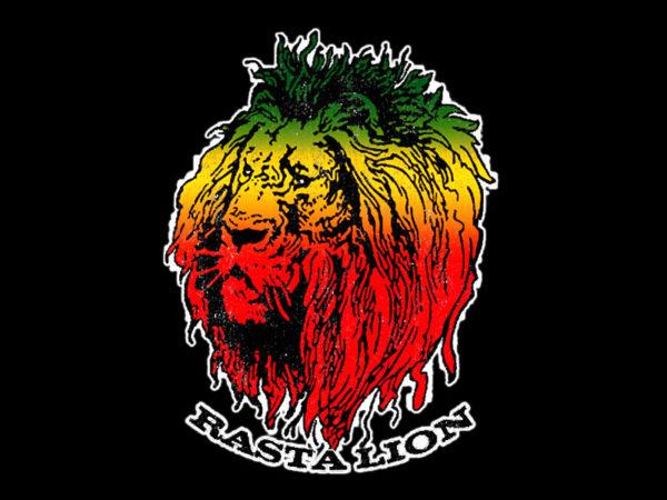 Lion Rasta Tee Shirt Coton Bio Noir Hailé Sélassié Homme ou Femme