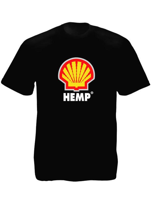 Logo Shell Hemp T-Shirt Noir à Manches Courtes en Coton