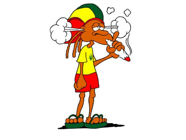 T-Shirt Blanc Manches Courtes Rasta avec un Fumeur de Joint de Cannabis
