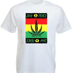Look Rasta T-Shirt Blanc Jah Peace Feuille de Ganja Coton