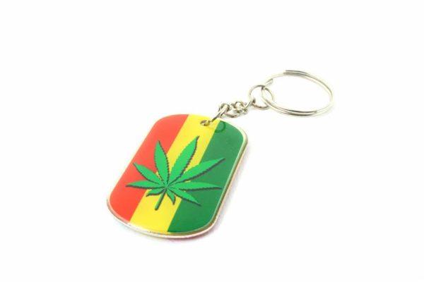 Porte-Clés Métal Feuille Cannabis Verte et Noire