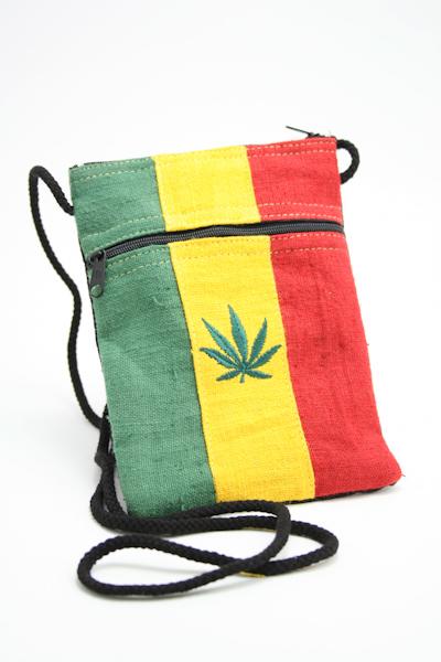 Grand Sac Passeport Feuille de Cannabis Lignes Verticales Chanvre 14x20 cm