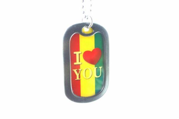 Collier Pendentif Plaque Gravée I Love You