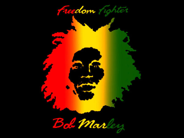 Photo Bob Marley T-shirt Noir Manches Courtes Freedom Fighters