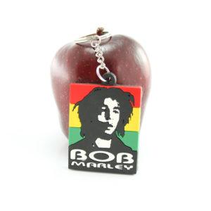 Porte-Clé Bob Marley Portrait Noir et Blanc sur Fond Couleur Vert Jaune Rouge