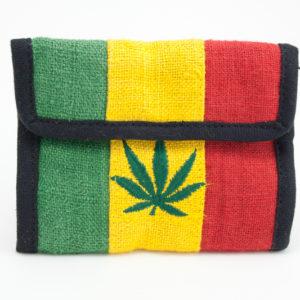 Portefeuille Chanvre Feuille de Cannabis Velcro Zip