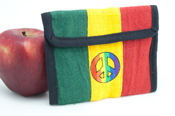 Portefeuille Chanvre Peace and Love Velcro Zip