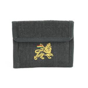 Portefeuille Chanvre Noir Lion de Juda Velcro Zip